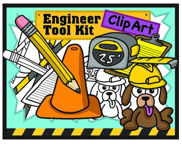 Engineer supplies tools clipart cute